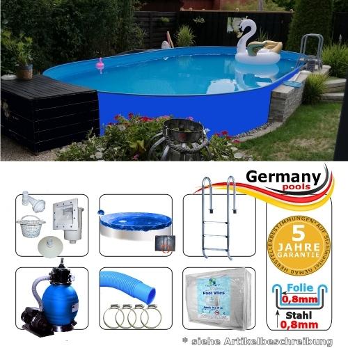 Ovalbecken Blau 5,3 x 3,2 x 1,25 m Komplettset