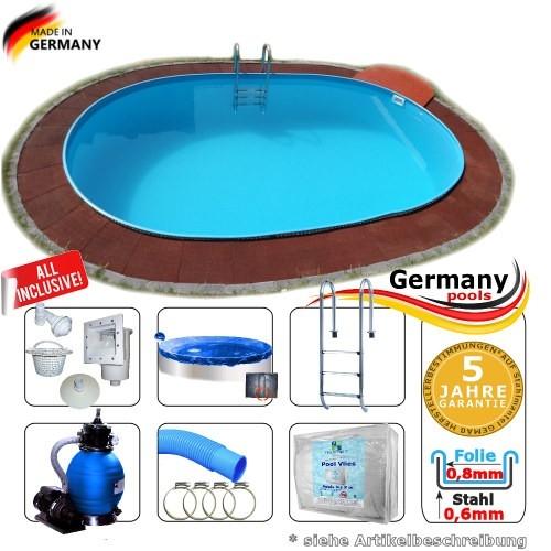 Pool oval 4,9 x 3,0 x 1,2 m Komplettset