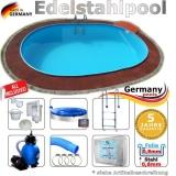 Edelstahl Pool 6,3 x 3,6 x 1,25 m oval Komplettset