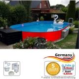 Ovalpool Rot 800 x 400 x 125 cm