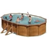 Pool Holz 500 x 300 x 120 Holzpool Oval Set Holz Optik