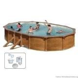 Pool Holz 610 m x 375 x 120 m Holzpool Oval Set Holz Optik