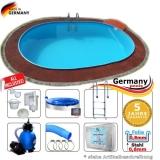 Pool oval 7,4 x 3,5 x 1,2 m Komplettset