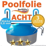 Poolfolie 5,25 x 3,2 x 1,2 m x 0,8 achtform bis 1,5 m