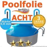 Poolfolie 6,25 x 3,6 x 1,2 m x 0,8 achtform bis 1,5 m