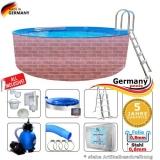 Schwimmingpool 300 x 120 cm Poolset Pool Komplettset Brick