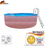 Schwimmingpool 6,4 x 1,2 Ziegel-Optik
