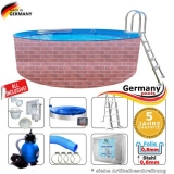 Schwimmingpool 700 x 120 cm Poolset Pool Komplettset Brick