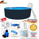 Stahl-Pool 500 x 125 cm Komplettset Anthrazit