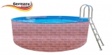 Schwimmingpool 6,0 x 1,2 Ziegel-Optik