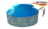 8,55 x 5,00 x 1,20 Achtformpool-Stein-Optik Achtformbecken Stone