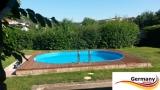 Ovalbecken Elfenbein 7,37 x 3,6 x 1,25 m Komplettset